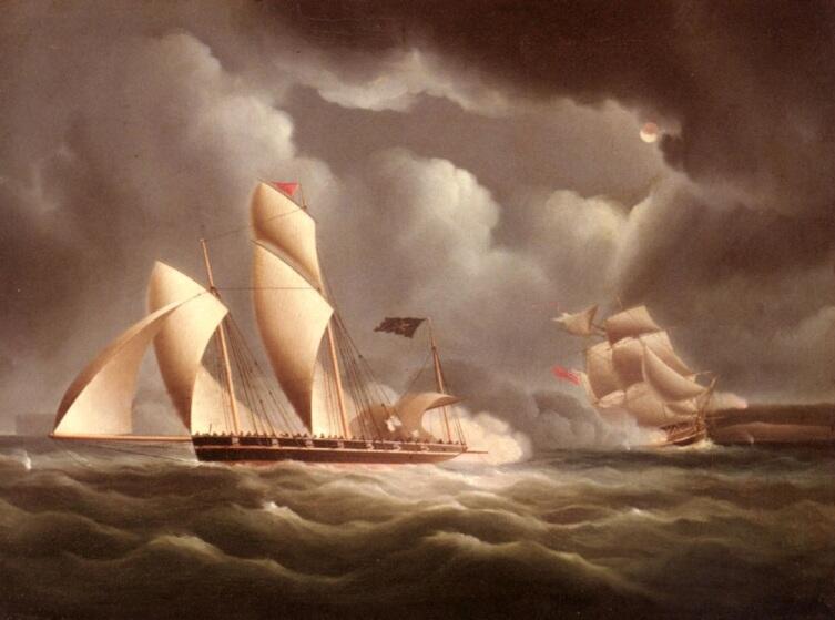 Джеймс Эдвард Баттерсвортс, «Британский фрегат, атакующий пиратский люгер ночью»