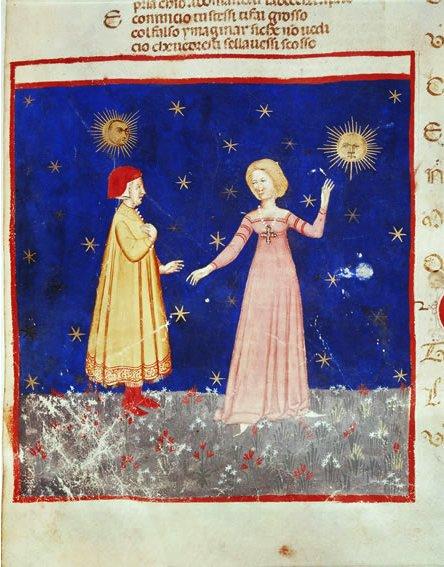 «Данте и Беатриче», миниатюра XV века