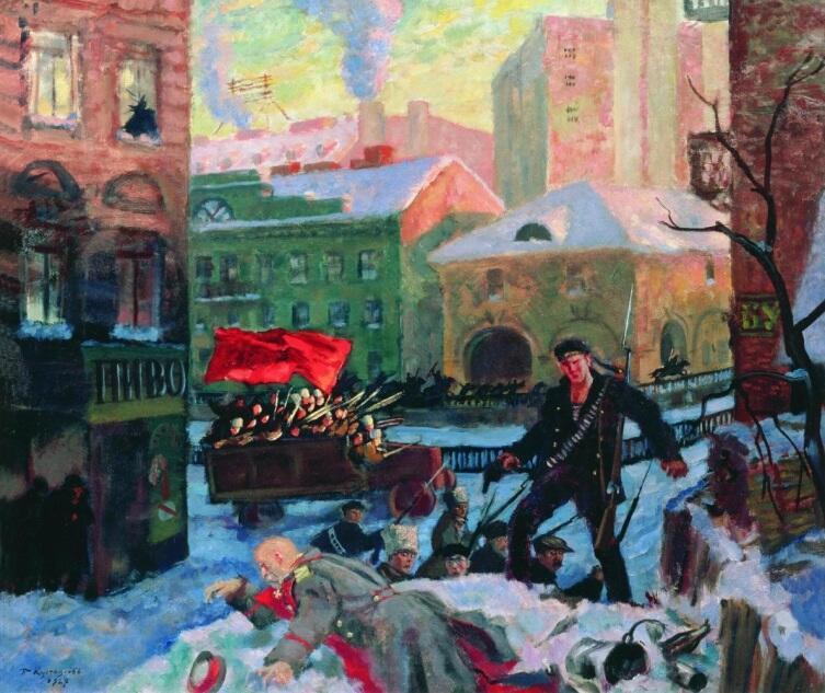 Б. М. Кустодиев, «Октябрь в Петрограде», 1927 г.