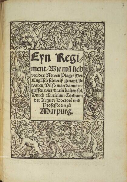 Немецкий трактат о «новой чуме — английском поте», изданный Эврицием Кордом (Генрихом Ритце) в 1529 году