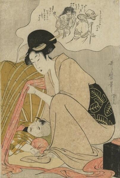 Китагава Утамаро, «Приведения в ночном кошмаре ребенка», 1801 г.