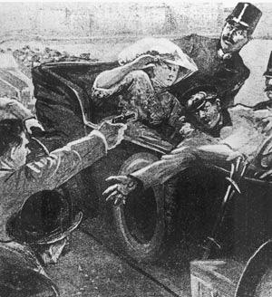 Гаврило Принцип убивает Франца Фердинанда. Рисунок из австрийской газеты 1914 г.