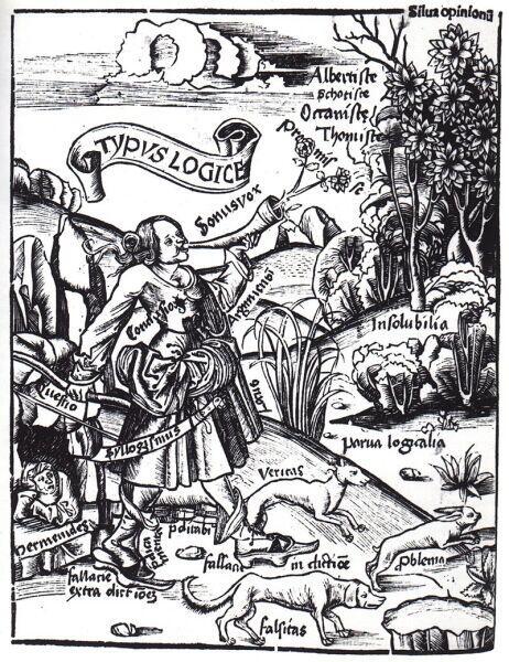 Гравюра из книги «Margaritha philosophica» Грегора Рейша. «Логика представляет её центральные темы». Две собаки veritas (с лат.—«истина») и falsitas (с лат.—«ложь») преследуют зайца problema (с лат.—«проблема»), логика, вооружённая мечом силлогизма, спешит позади. Слева внизу в гроте изображён Парменид, с которым логическая аргументация проложила себе путь в философию