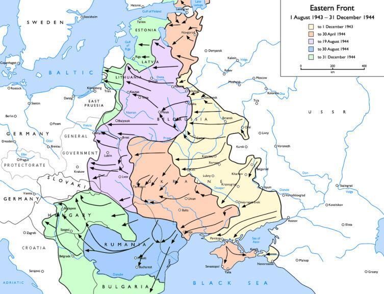 Действия РККА с августа 1943 по декабрь 1944 года