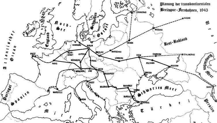 Одна из схем немецкого проекта сверхширокой железной дороги, 1943 г.