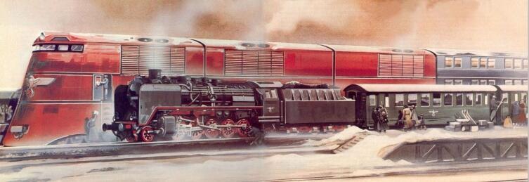 Поезд нацистской «ширококолейки» (проект Breitspurbahn) рядом с поездом обычной колеи