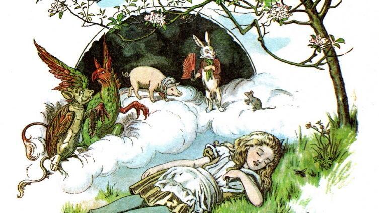 Фрагмент обложки издания «Алиса для малышей» 1890 г. Художник E. Gertrude Thomson
