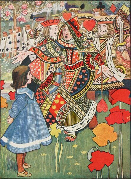 Алиса, Червонный Король и Королева. Иллюстрация Чарли Робинсона