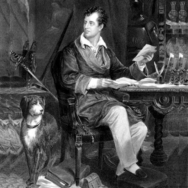 Джордж Байрон и его собака