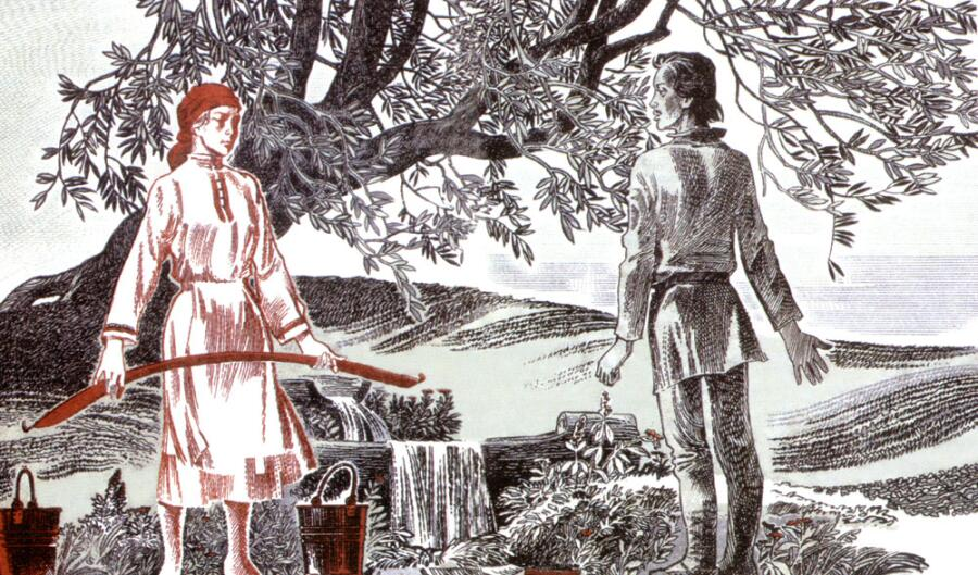 Э. М. Юрьев, иллюстрация к поэме К. В. Иванова «Нарспи», 1985 г.