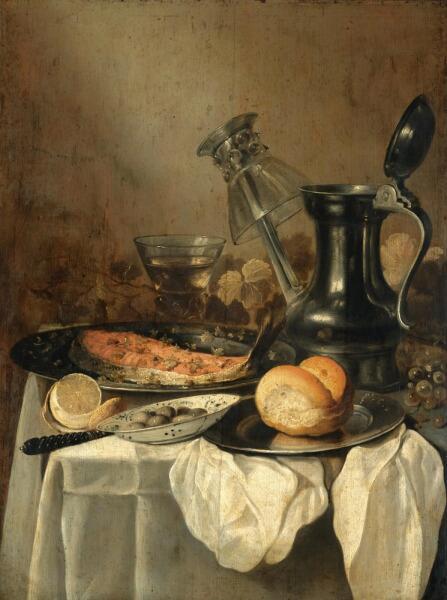 Питер Клас, «Натюрморт с кувшином, хлебом, лимоном и оливками», 1650 г.