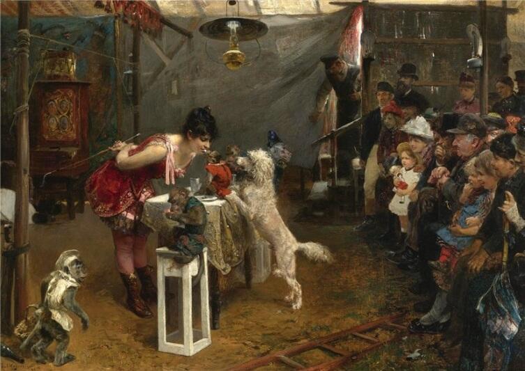 Пол Фридрих Мейерхейм, «Дрессировщица собак», 1891 г.