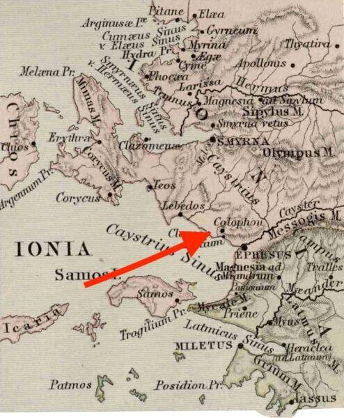 Колофон на карте Древней Греции