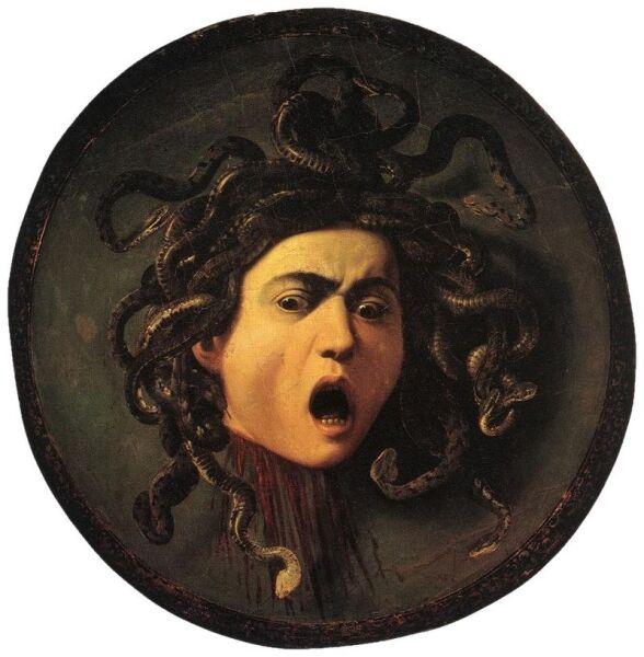 «Медуза», Караваджо, 1598—1599 гг., Уффици. Изображение отрезанной головы Горгоны