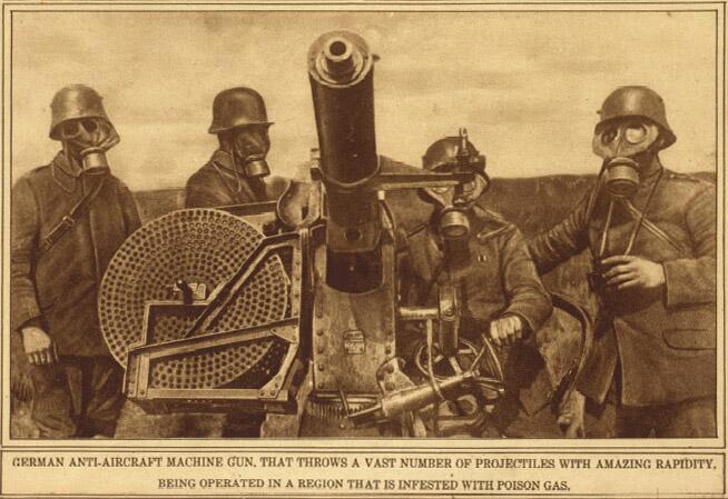 Немецкий расчёт зенитной скорострельной автоматической 37-мм пушки QF 1 pounder в противогазах, Первая мировая война