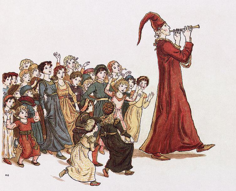 Гамельнский крысолов уводит детей из Гамельна. Иллюстрация Кейт Гринуэй (1910 г.) к поэме Роберта Браунинга