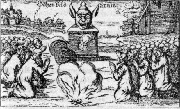 Поклонение Стрибогу у Московитов, рисунок из книги Шлейзинга
