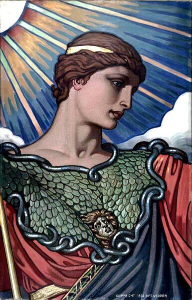 Афина Паллада. Подготовительный картон работы И. Веддера для мозаики в Библиотеке Конгресса, Вашингтон, 1896 г.