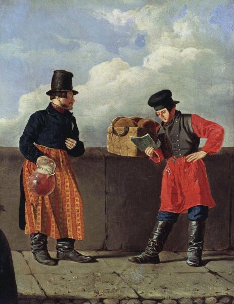 И. С. Щедровский, «Чтец на набережной и торговец лимонадом», 1839 г.