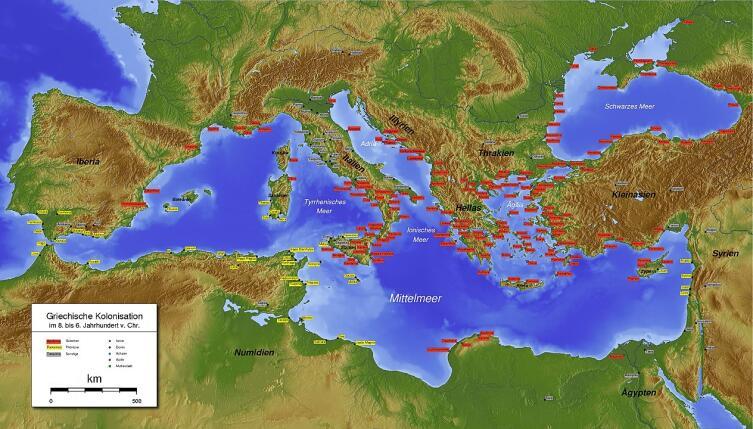 Средиземное и Черное моря. Финикийские колонии— желтые, греческие— красные