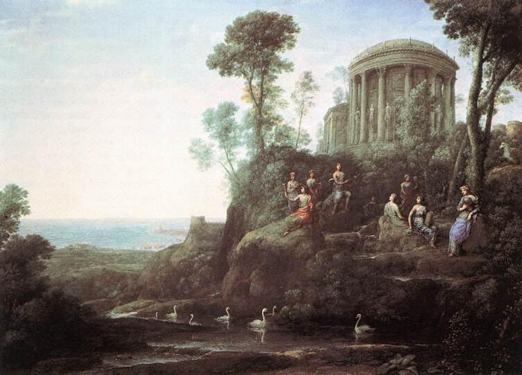 Клод Лоррен, «Аполлон и музы на горе Геликон», 1680 г.