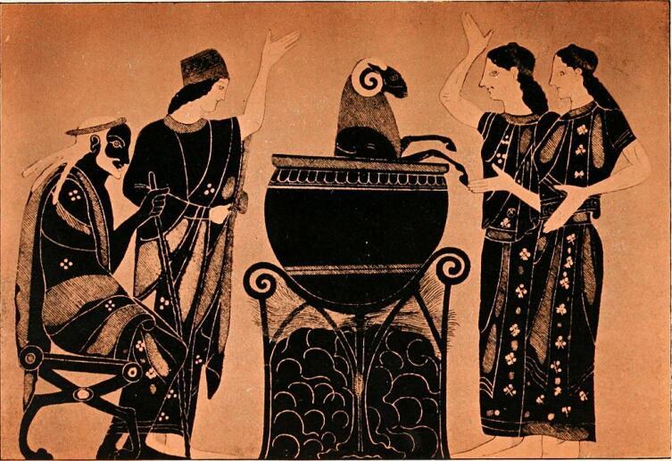 Медея превращает барана в ягненка. Рисунок из книги «Золотое крыльцо — мифы Древней Греции», 1914 год, копия с этрусской вазы из Британского музея