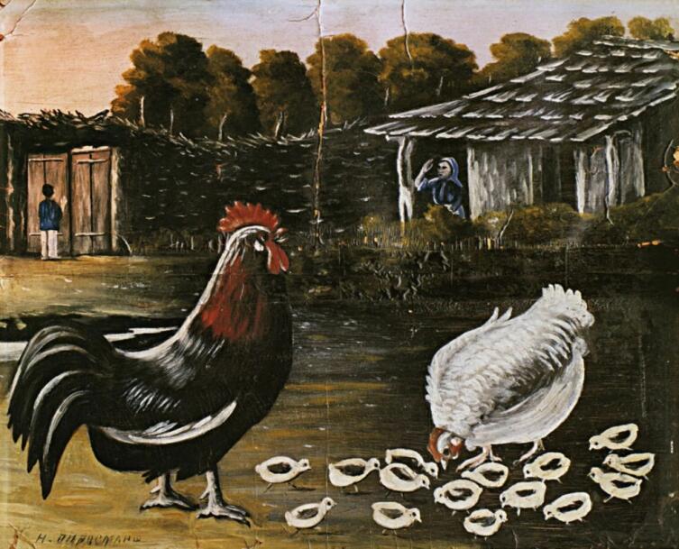 Нико Пиросмани (Пиросманашвили), «Петух и наседка с цыплятами», 1917 г.