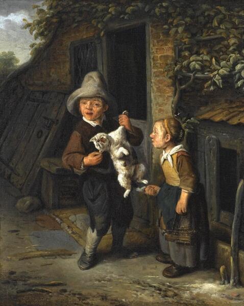 Корнелис Дюсарт, «Крестьянские дети с кошкой возле дома», 1682 г.