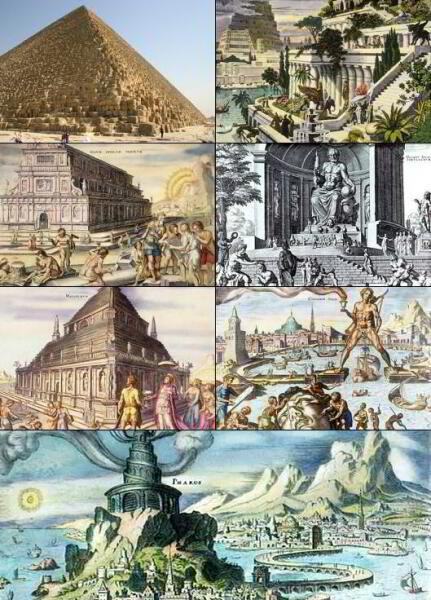 Семь чудес света. Слева направо, сверху вниз: Пирамида Хеопса, Висячие сады Семирамиды, Храм Артемиды в Эфесе, Статуя Зевса в Олимпии, Мавзолей в Галикарнасе, Колосс Родосский, Александрийский маяк