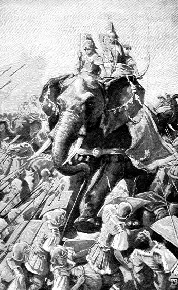 Боевые слоны Пирра сражаются с римлянами