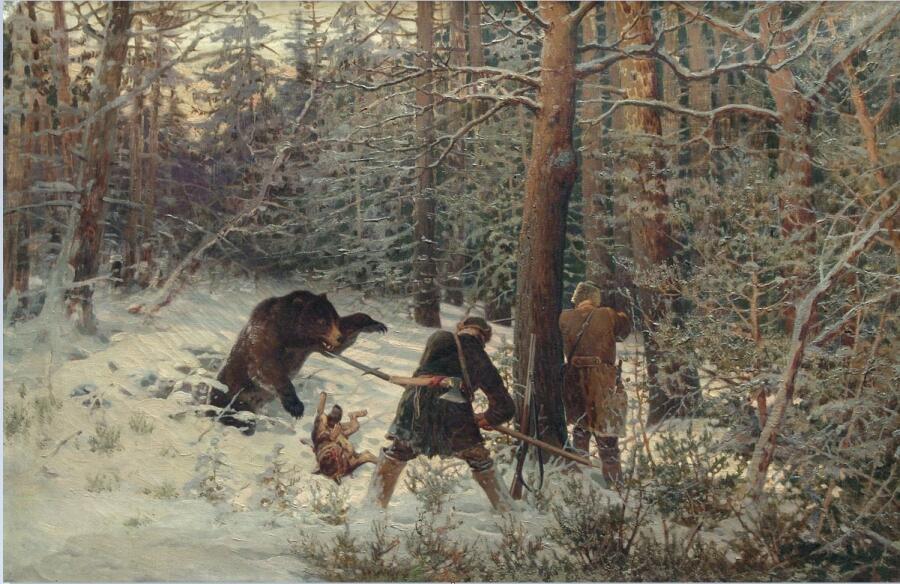 Е. А. Тихменев, «Охота на медведя», 1890-е гг.