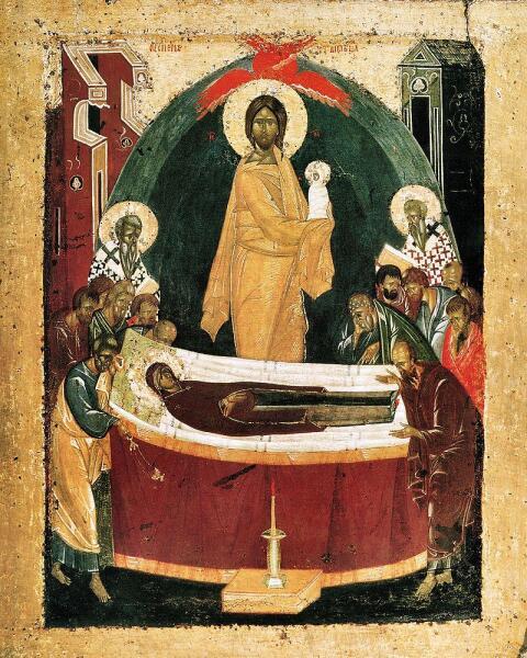 Икона Феофана Грека - Успение Богородицы, 1392 г., оборот Донской иконы Божией Матери