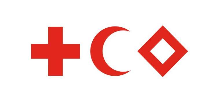 Три эмблемы Женевских конвенций: Красный Крест, Красный Полумесяц, Красный Кристалл
