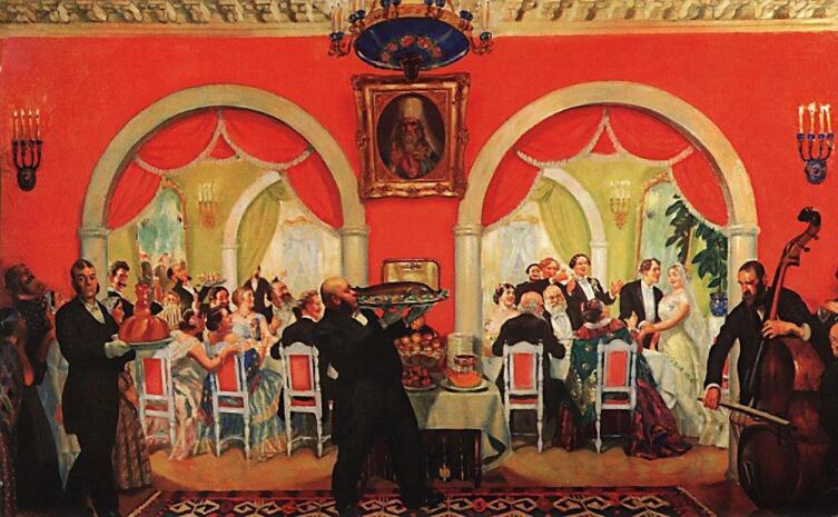 Б. М. Кустодиев, «Свадебный пир», 1917 г.