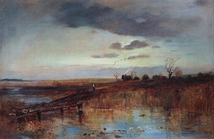 А. К. Саврасов, «Осень. Деревушка у ручья», 1870-е гг.