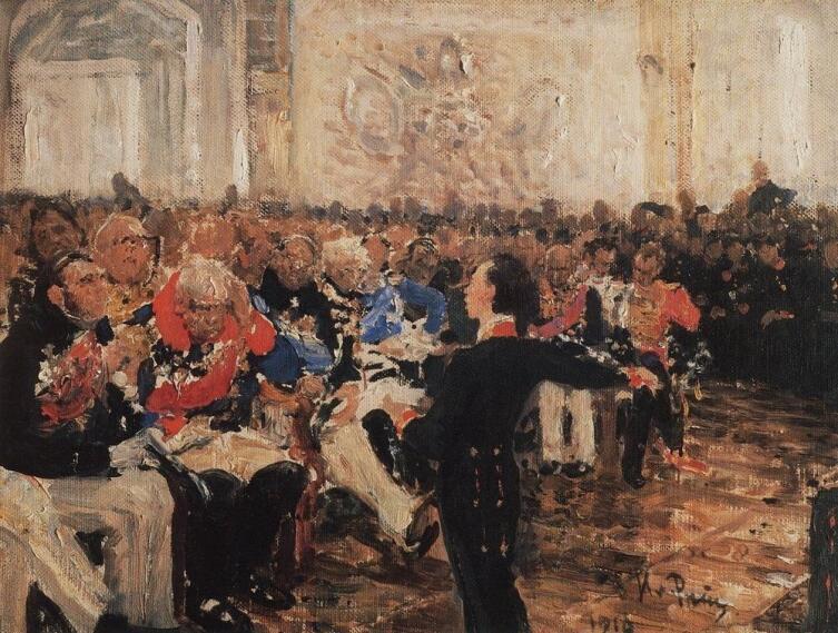 И. Е. Репин, «А. С. Пушкин на акте в Лицее 8 января 1815 года. Эскиз», 1910 г.