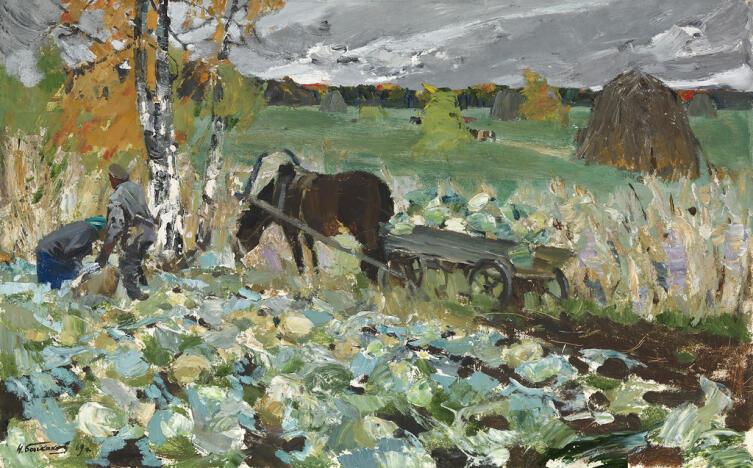 Николай Баскаков, «Сбор урожая капусты», 1969 г.