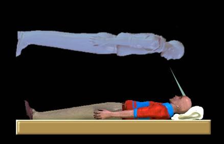 Изображение выхода из тела в представлении художника