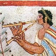 Музыкант, играющий на тибии. Этрусская фреска (фрагмент)