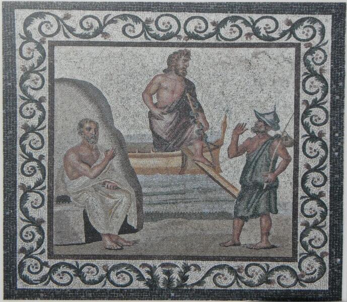 Асклепий прибывает на Кос, где его встречает Гиппократ (слева). Римская мозаика. II век. Музей Коса