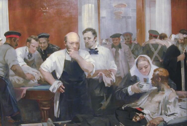 М. П. Труфанов, «Н.И. Пирогов на Главном перевязочном пункте в зале Дворянского собрания»