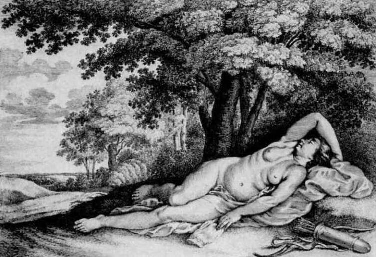 Венцель Холлар, «Отдыхающая нимфа из свиты богини Дианы», 1633 г.
