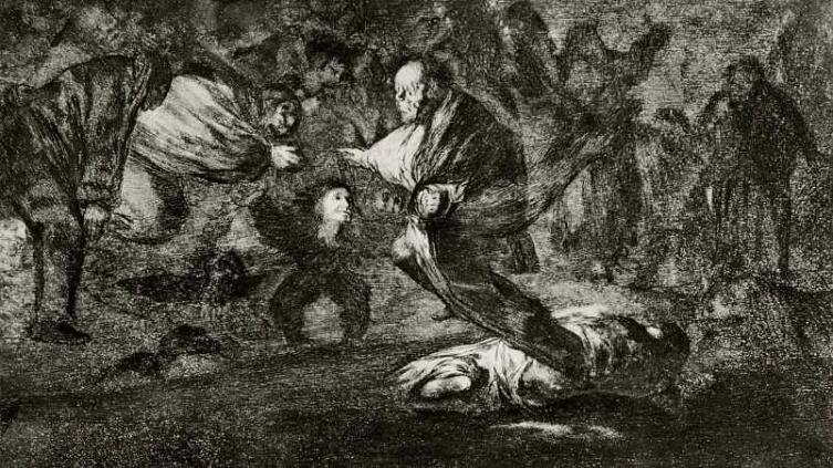 Франсиско Гойя, «Привидения» (серия «Диспаратес», лист 18), 1819 г.