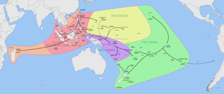 Схема расселения австронезийских народов