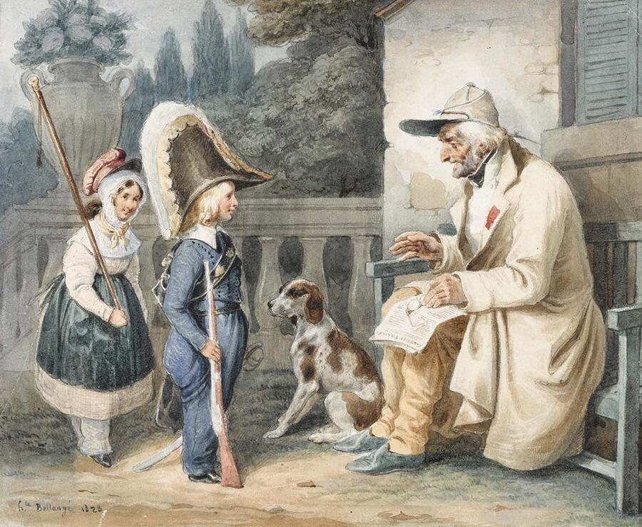 Ипполит Белланже, «Ветеран и дети», 1828 г.