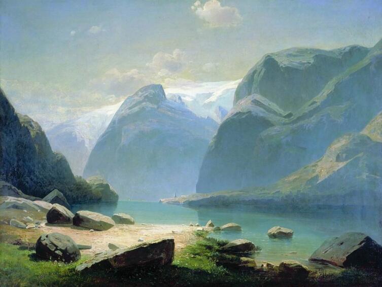 А. К. Саврасов, «Озеро в горах Швейцарии», 1866 г.