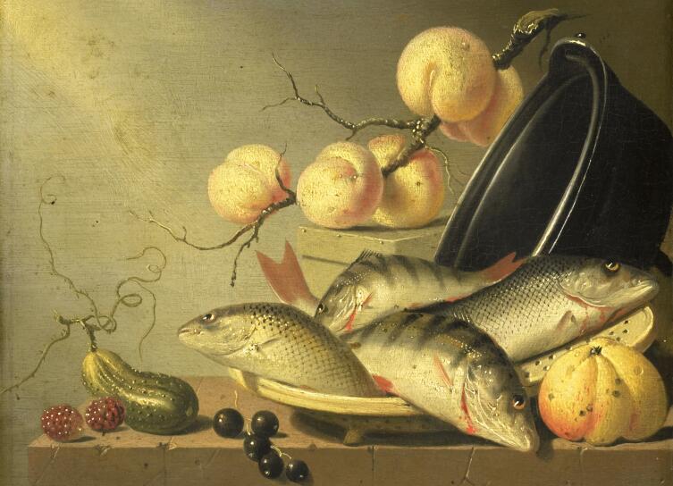 Хармен ван Стенвейк, «Натюрморт с рыбами и фруктами»