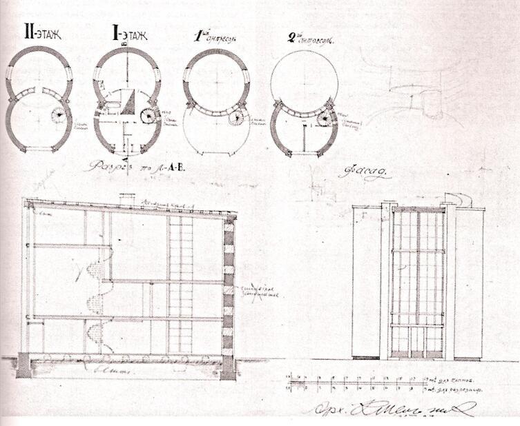Проект дома-мастерской К.С. Мельникова