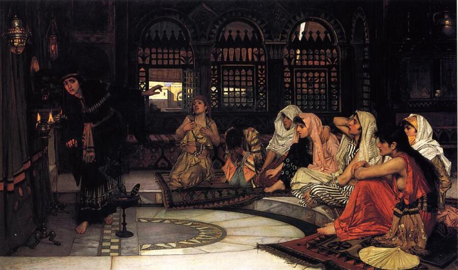 Джон Уильям Уотерхаус, «Посещение Оракула», 1884 г.