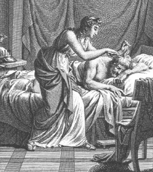 Николас-Андре Монсо, «Скилла отрезает пурпурный волос с головы отца», иллюстрация к «Метаморфозам» Овидия, Париж, 1806 г.